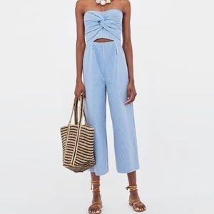 Zara Blue Seersucker Jumpsuit Size small